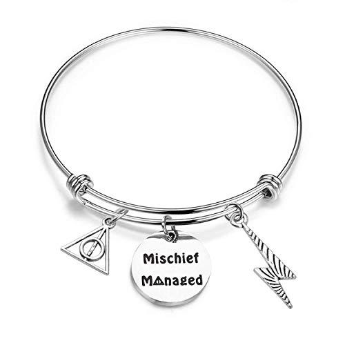 KUIYAI Mischief Managed Bracelet Deathly Hollows Bangle Friendship Jewelry Gift -