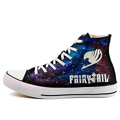 Glow in Night High Top Canvas Shoes Luminous Fairy Tail Anime Fans Casual Walking Shoes Adults Hand Painted Starry Night Effect Sneakers (7 Women / 5.5 Men /CN39, Black T-ZII01HY)