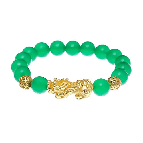 - Prime Feng Shui Bracelet Porsperity Gold Plated Pi Xiu/Pi Yao Bead Bracelet Attract Wealth and Good Luck Best Gift(Green)