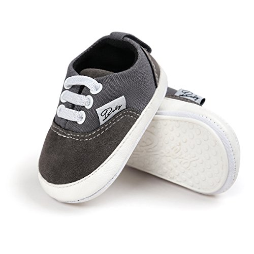 Pictures of Meckior Infant Baby Boys Girls Canvas Toddler Sneaker Anti-Slip First Walkers Candy Shoes (12-18 Months, B-Gray) 1