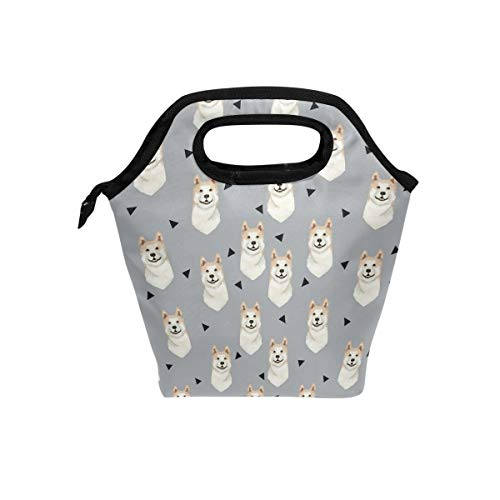 - Lunch Tote Bag with Akita Dog Gray Print- Insulated Reusable Lunch Box, BaLin Thermal Colder Lunchbox for School Work Office