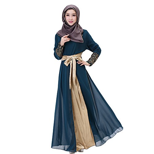 Long BOZEVON Abaya Muslim 6 Mousseline Longue Robe Soie Robe Manche Couleurs Femmes Fonc Musulmane De Maxi Bleu Islamique qqwr1Evg