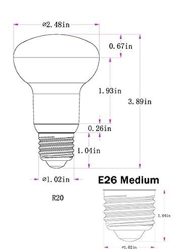 R20/BR20 7 Watt Dimmable LED Light Bulb Equivalent 70 Watt Incandescent,E26 Medium Base 5000K Daylight White 120 Volt 700 Lumens Incandescent R20 Medium Reflector Light Bulb (4 Pack)