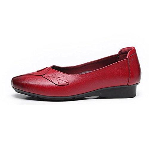 Giy Kvinners Uformelle Retro Loafers Komfort Mokkasiner Leiligheter Firkantet Tå Slip-on Kjole Penny Dagdriver Sko Rød