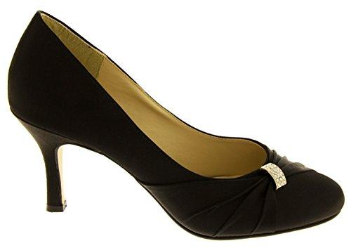Scarpe satinato nero da medio in tacco donna con raso Sabatine ATdxFZqd