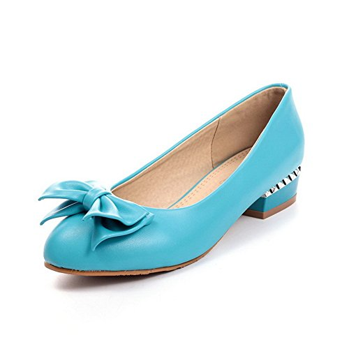 AmoonyFashion Womens Low Heels Solid Pull On Round Closed Toe Pumps-Shoes Blue C48Ik