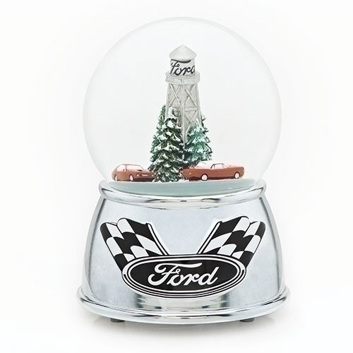 Roman Ford Motor Co Racing Cars Winter Holiday Snow Globe Dome Musical Plays Drive My Car 6'' by Roman (Image #1)