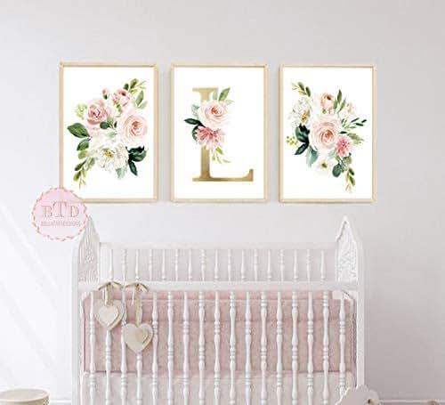 Amazon.com: Woodland Floral Wall Art Print With Monogram