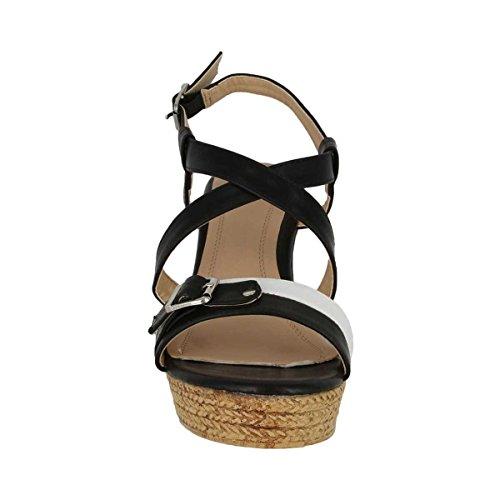 Cinture Sandalo Alto Zeppa Donna Ivy 1 Con Cinturini E Suola Marrone Chiaro (nero, 10)