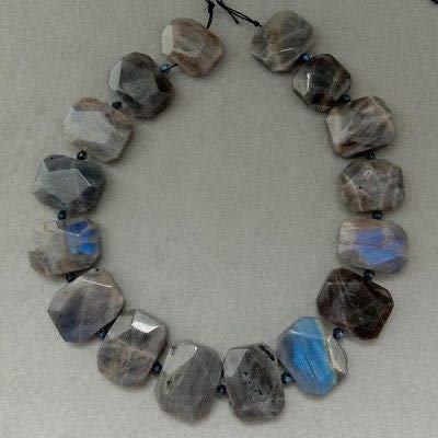 FidgetFidget 8SE11246 Nautral Labradorite Faceted Slice Slab Cushion Focal Beads 15