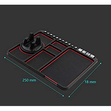 Lukzer 1 Pc Dashboard Mat Multifunction Stable Anti-Slip Car Phone Mount/Non-Slip Mat Phone Dashboard Pad Mat/Navigation Holder Tray with Parking Phone Number Applies (Red) 8