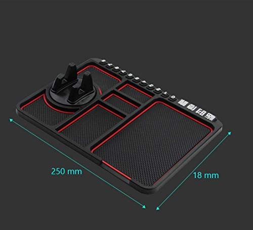 Lukzer 1 Pc Dashboard Mat Multifunction Stable Anti-Slip Car Phone Mount/Non-Slip Mat Phone Dashboard Pad Mat/Navigation Holder Tray with Parking Phone Number Applies (Red) 3