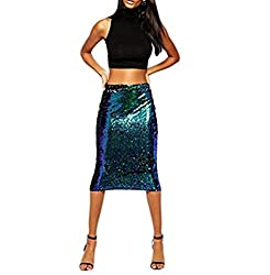 Sequins Hip Package Pencil Midi Skirt