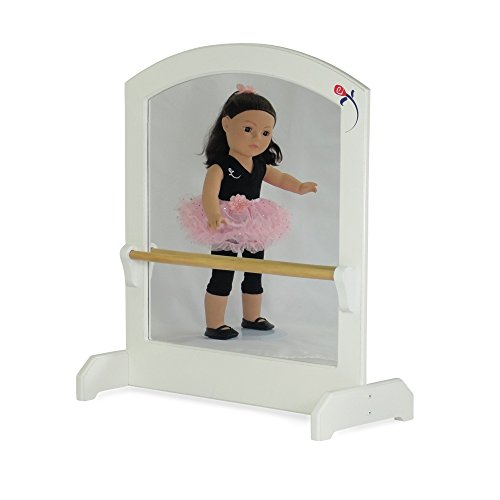 (18-inch Doll Furniture | Ballerina Mirror with Ballet Barre | Fits 18