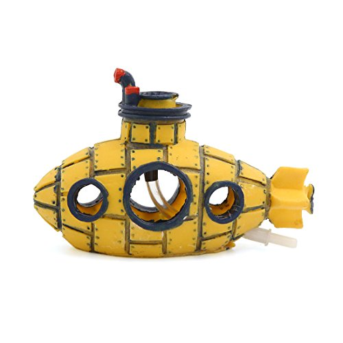 - uxcell Aquarium Fish Tank Decoration Bubble Maker Yellow Spaceship Ornament 13x6x8cm
