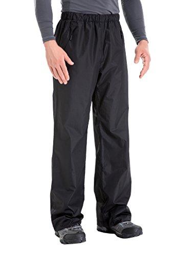 - Clothin Men's Waterproof Rain Pants Elastic-Waist Drawstring with Front Zipper Pockets Basic Ski Snow Pant-Insulated(Black,2XL)