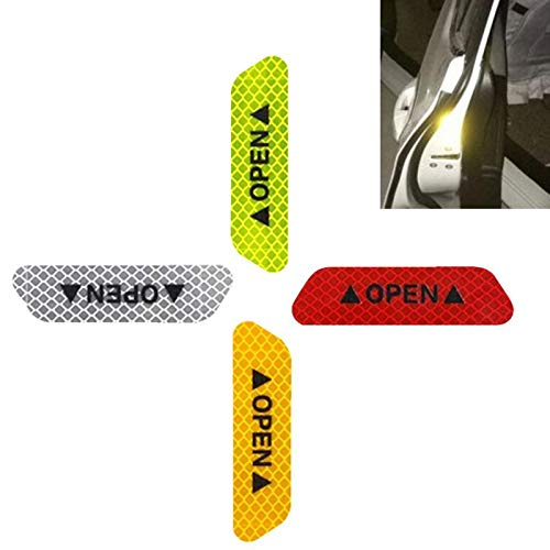 ETbotu 4Pcs/Set Safety Reflective Tape Open Sign Warning Safety Mark Car Door Reflector Strips Sticker Accessory Diamond Fluorescent Green by ETbotu (Image #4)