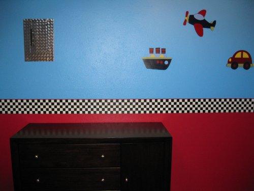 Checkered Flag Cars Nascar Wallpaper Border 6 Inch Red Edge