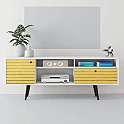Living Room UNIVERSAL LTD TV Stand for 75 INCH TV MID Century TV Stand MID-Century Modern Entertainment Center for Flat Screen TV… modern tv stands