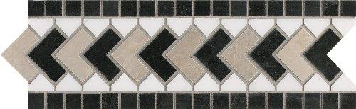 Arizona Listelle - Azulejos de piedra natural de 10,16 cm por 30,48 cm, 4 unidades, 4-by-12-Inch, negro - gris diamante