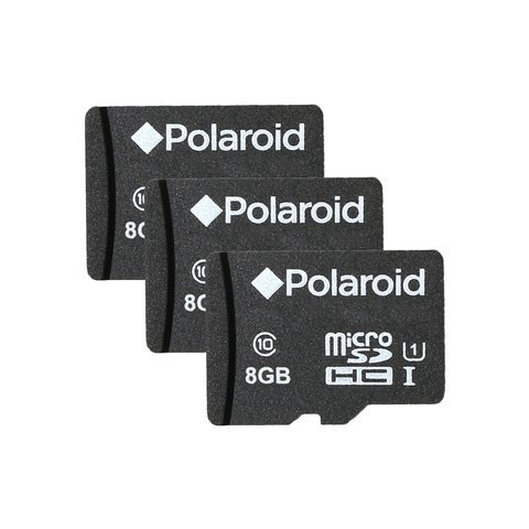 8GB MicroSDHC Memory Card for Smartphones, Tablets and Cameras, Class 10 UHS-I (3-Pack) by Polaroid