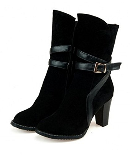 plateforme talon cheville femmes western bottes noir talon bottes haut à Kitzen sexy courtes lacets qXtf88w