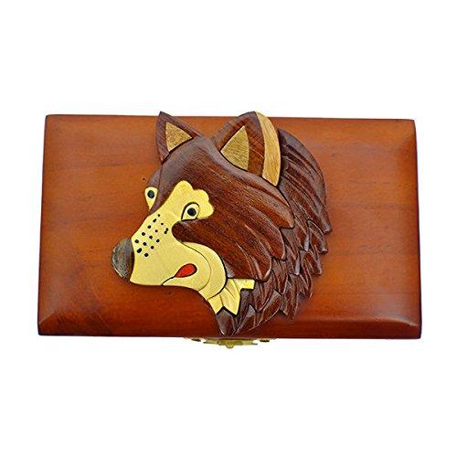 Handmade Wooden Art Intarsia Wolf Trinket Box with hinge (3535) (g2)