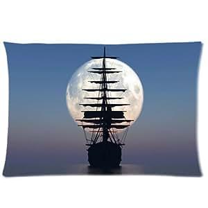Ackershop custom Personalized pillowcase, Nautical Vintage Sailing Pirate Ship pattern pillowcase Zippered Pillow Case Plush fabrics (20 X 30 inch one-side printing)