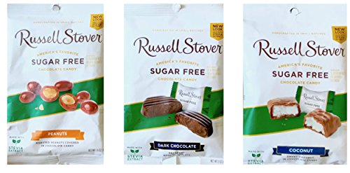 Russell Stover Sugar Free Chocolate Candy Dark Chocolate , Peanuts & Coconut Net Wt 3oz (Triverse, pack of 3) ()