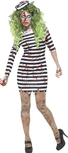 Costumes Prison Beige (Smiffy's Women's Halloween Zombie Jail Bird Costume)
