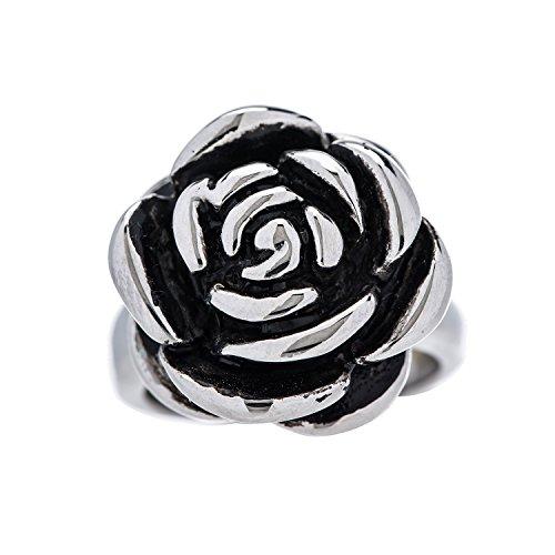 Designer Stainless Steel Rose Ring for Women and Girls - Size 8