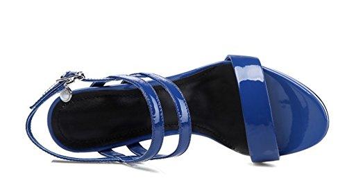 De Peep Altos 33 39 Mujeres Nvxie Tacones Correa Las toe Moda Impermeables Verano Blue Salvaje Hebilla Cuero Sandalias OZqq5v