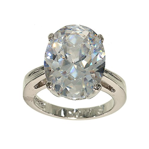 Big Oval Single Stone Silvertone Fashion Ring in Clear Cubic Zirconia with Four Prong Setting Size 6