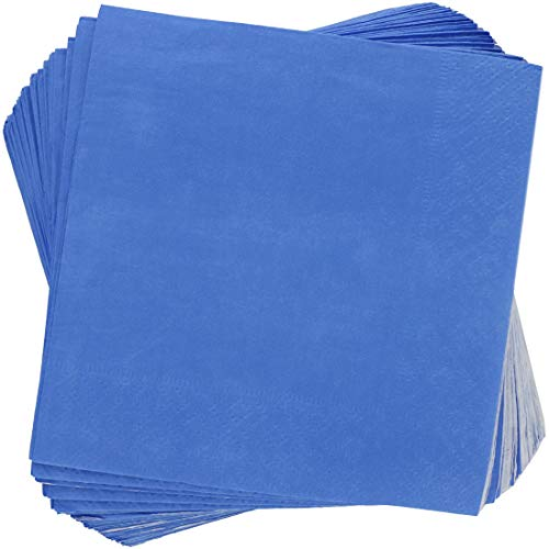 Blue Panda 200-Pack Disposable Paper Cocktail Napkins, 2-Ply, Royal Blue, 5 x 5 Inches Folded (Blue Paper Slate Napkins)