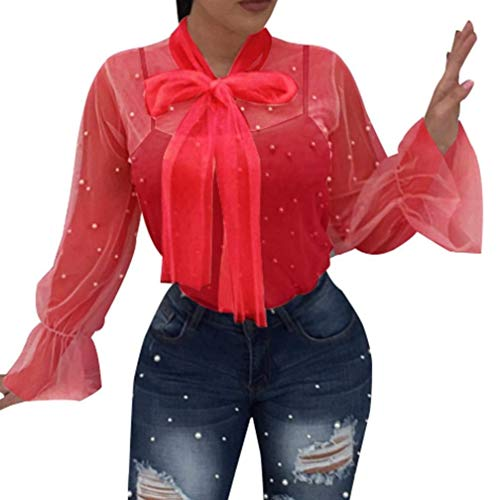 Col Femme Shirts Long Jeune Printemps Maille Perspective Costume Manches Chic Et Party Tops Chemisiers Dcor Elgante Rouge Noir Rond Haut Mode Casual Perle Fille Tendance 4dwvXqW