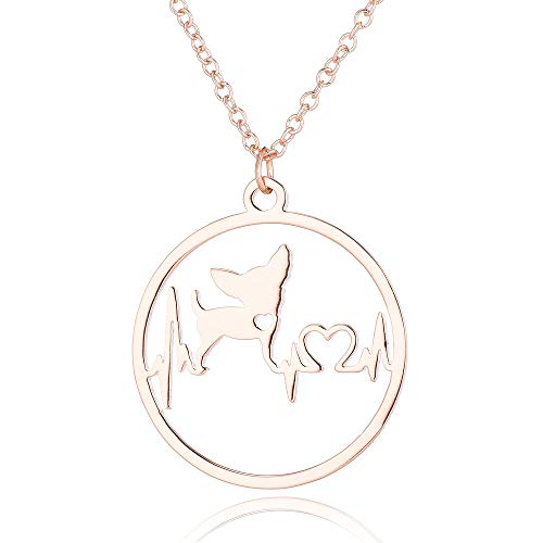 Eiffy Cartoon Chihuahua ECG Heartbeat Puppy Dog Pendant Necklace Pet Animal Hypoallergenic Jewelry for Women (Rose Gold)