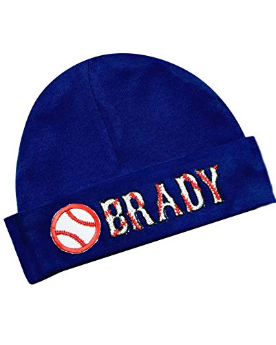 - Embroidered Baseball Baby Boy Hat Personalized Keepsake Custom Infant Hat (Navy Blue Hat)