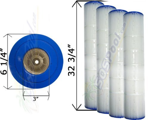 4 Pack 25 sq. ft. Cartridge Filter Pentair Quad D.E. 100 178656 C-6900 FC-1963 ()