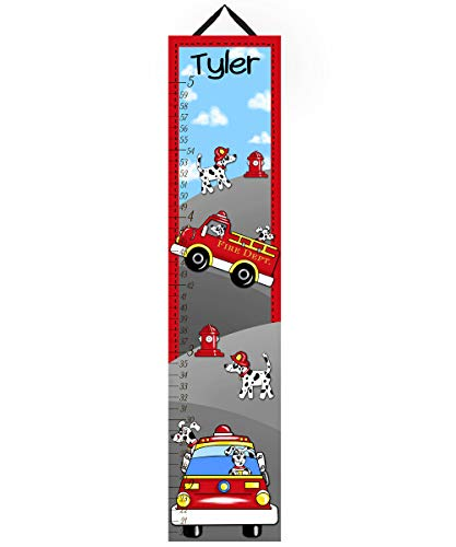 Toad and Lily Canvas GROWTH CHART Firetruck Puppy Boys Bedroom Kids Baby Nursery Wall Art GC0090