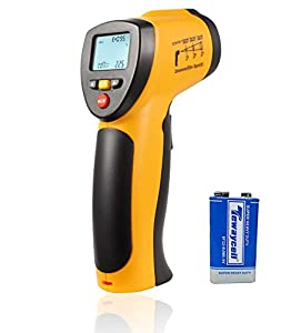 Digital Lasergrip Infrared Thermometer ,Hti No-contact Handheld Temperature Gun -58℉~716℉ (-50℃~380℃) for Cooking ,Auto Maintenance,Home Repairs (9 V Battery Included )