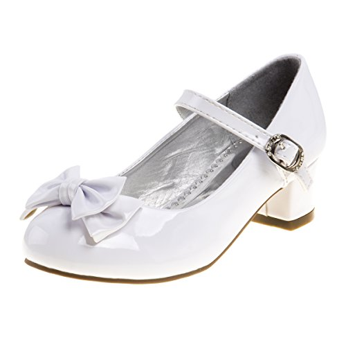 Josmo Girl's Heel Patent Dress Shoe with Bow, White Patent w/Bow, 11 M US Little Kid'