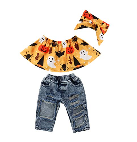 Halloween Baby Girl Costume Off Shoulder Ghost Top+Destroyed Ripped Jeans+Headband Clothes Outfit Set (6-12 Months, D)