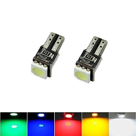 FEELDO - Bombilla LED de cuña lateral para coche, color blanco, rojo, azul, amarillo, verde T5 Canbus 5050SMD: Amazon.es: Coche y moto