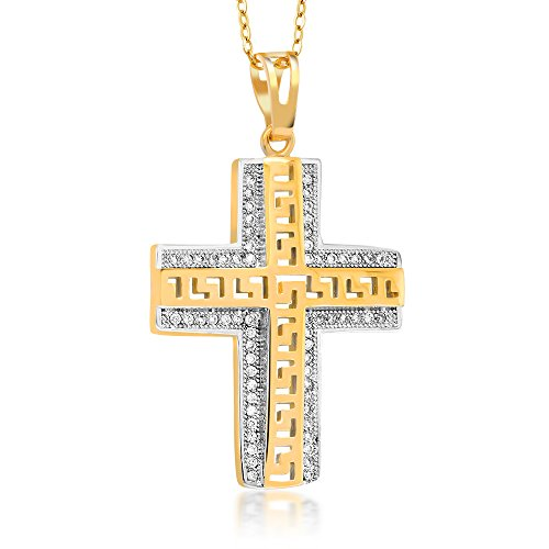 Stunning Two-Tone Greek Key Style Cross Pendant with18 Inch Chain