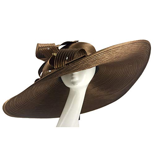 Kueeni Women Hats Church Hats for Wedding Mother of Bride Hats Silver (Coffee-1) ()