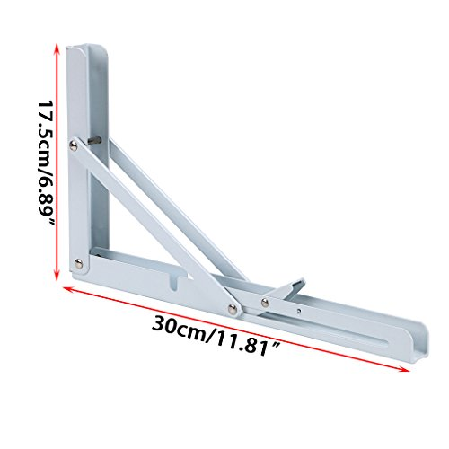 Sumnacon Folding Shelf Brackets Heavy Duty, White Metal Floating Shelf Bracket Supports Decorative Max Load 300lb, 2 Pcs Triangle Bracket for Wall Hanging Shelves 12 Inch by Sumnacon (Image #1)