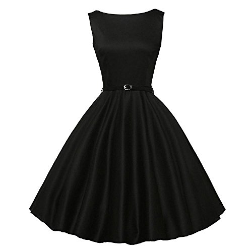 HGWXX7 Women's Vintage Print Sleeveless Evening Party Prom Swing Dress with Belt (S, Black-Solid)