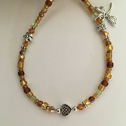 Bohemian Beaded Anklet with Swarovski Crystal and Dragonfly Charm