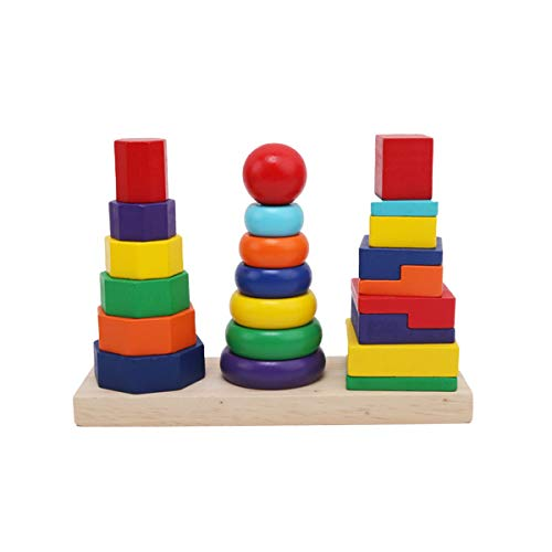 KangRuiZhe Geometric Stacker Toddler Toy, Developmental Toys, Rings, Octagons, and Rectangles, 22 Colorful Wooden Pieces, Rainbow Stacking Three Styles ()