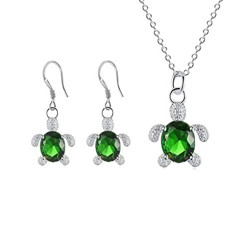 - MYANAIL Crystal Turtle Pendant Necklace Earring Set, Cute Animal Sea Turtle Clavicle Necklace Drop Earrings Jewelry Set (Green)